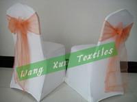Wholesale White Wedding Lycra Spandex Chair Cover With Peach Organza Chair Sash