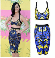 Street Style Polyester V_Neck Hot Sale Celeb Bandage Dress Katy Perry 2 pieces Owl Print Blue Yellow Halter Bodycon Sexy Celebrity Dresses B055 Free Shipping