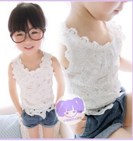 Wholesale girl vest girls summer clothes white lace harness vest Children s Tank Tops Kids Clothing