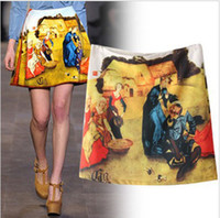Chiffon Above Knee Women BSQ23 new fashion womens' Oil printing Mini Skirt elegant vintage classic casual gril's hot slim brand designer skirt