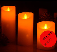 Wholesale LED flickering wick wax candles crafts Christmas New year rooms decoration girl birthday gift romantic nightlight Wedding candle lamps