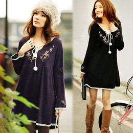 Wholesale 2014 Fashion Vintage Embroidery Laciness Decoration Long Sleeve Knitted Dress One piece Maternity Dress Clothing