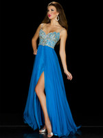 Reference Images Spaghetti Straps Chiffon Size 6 Turquoise Chiffon SPlit Spaghetti Beaded Bodice Prom Dresses 2014 Unique Scalloped Sweetheart Neck MAC DUGGAL BLUE TEEN PAGEANT GOWN