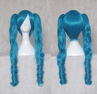 Wig Dark blue 55cm V miku Dark Blue Heat Resistance Party cosplay costume wig 55cm cos hair free shipping