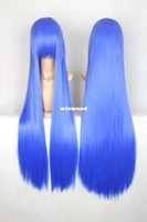 Synthetic Hair Wig,Half Wig Blue 100cm Blue Long Straight Cosplay Party Wig ,Heat Resistance Hair Free Shipping