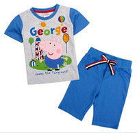 Wholesale CD4743 Nova trendy kids clothes summer outfits m y baby boys piece set cartoon George peppa pig T shirt blue solid short pants