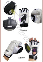 Wholesale free ship pair sanda boxing gloves kongfu MMA taekwondo gloves playing sandbags gloves gauntlets Protector half Finger hand protective gear