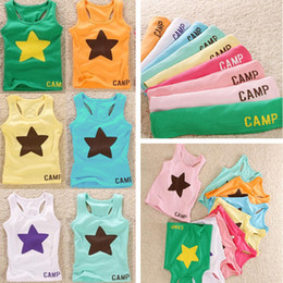 Wholesale 2015 Time limited Rushed Pink Gym Tank Korean Version of The Children s Clothing Summer Star Boys And Girls Candy colored Vest