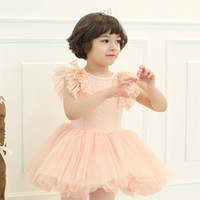 Wholesale Amber berry Girl s Flying Short Sleeve Sequins Multi layer Ballet Cake Dress T0323
