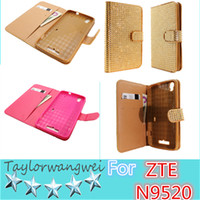 For ZTE Soft diamond Black For ZTE N9520 For Iphone Samsung Cell Phone Case Soft Diamond Leather Case TPU Case Black Pink Blue Purple Silver Gold 6 Colors 200Pcs Color