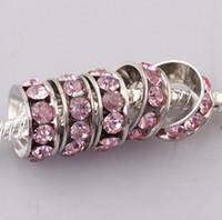 Wholesale Wholesale18KGP MM Pink CZ Crystal Wheel Charm Big Hole Spacer Loose Beads