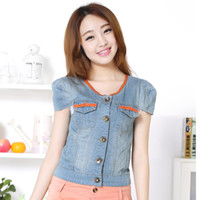 Jackets Women Cotton [TC] Women clothing denim jacket for girl jumper orange short-sleeve all-match jeans coat for girl