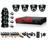 Wholesale 8CH H TVL DVR DOME Day Night Security Camera CCTV System IR Leds Weatherproof Cameras with GB HDD H030