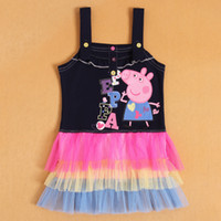TuTu Summer Pleated New Fashion kids Peppa Pig girls Dark Blue and pink vest sling tutu dress dress