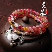 Wholesale Original design natural crystal agate watermelon pink coral hair crystal crystal bracelet with sterling silver jewelry multilayer
