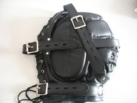 Ball Gags & Bite Gags Male  Bondage Gear BDSM Restraint Full Cover Hood Faux Leather Free Shipping