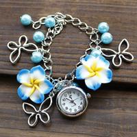Women's ceramic beads flower - New Lady Jewelry Beads Watch Flower Retro Bracelet Cuff Wrist Watch DHL