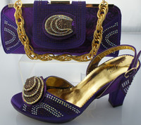 Women red pumps - Afircan fashion dress shoes with matching evening bag in GOLD PURPLE RED GREEN Chunky heel sandals and crystal shoulder bag
