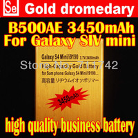 Wholesale 1Pcs High Capacity V mAh L shape slot Golden Battery For SAMSUNG Samsung Galaxy SIV S4 mini I9190 I9192 i9195 i9198