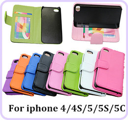 Wholesale Best Quality PU Leather Wallet Case Cover With Credit Card Slots Photoframe photo frame with Stand For iphone G Iphone5 S S C DHL