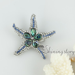 Wholesale pink oyster shell rainbow abalone shell rhinestone starfish star fish teardrop flower brooch mother of pearl jewelry Cheap china jewelry