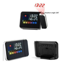 Digital   Free DHL Weather Multi-Function Station Projection Alarm Clock MINI Portable Wall Clock with Stand Holder