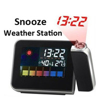 Digital   Weather Multi-Function Station Projection Alarm Clock MINI Portable Wall Clock with Stand Holder Free DHL Fedex