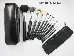 Conjunto de maquillaje cepillo de bajo precio en Línea-El precio bajo / nuevo caliente 12Pcs / set Profesional negro pinceles de maquillaje con bolsa de cuero
