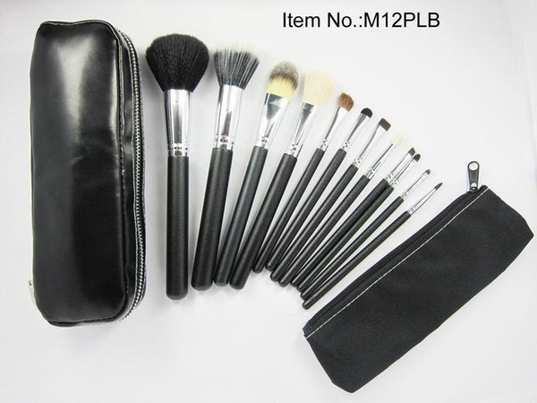 new 12pc et profe ional black makeup bru he with leather pouch