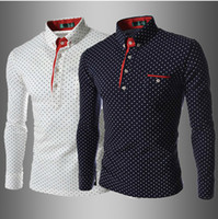 Wholesale 1080 New Korea Slim men s shirts Casual long sleeve dot mens shirts Fashion men s shirts white