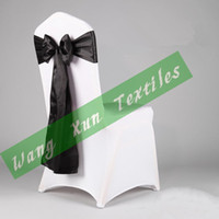Wedding Chair Spandex / Polyester many color can do White Lycra Spandex Chair Cover With Black color Satin Chair Sash For Wedding Party Free Shipping
