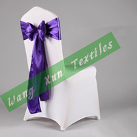 Wedding Satin Fabric 15cm*275cm Purple color Satin Chair Sash Bow For Wedding Chair Cover Free Shipping