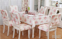 Wholesale red flower eclogue rustic dining table cloth fabric tablecloth table cloth cushion chair cover customize