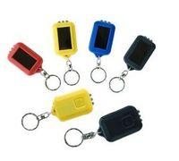 Wholesale Keychain Portable LED Flashlight Solar Powered black yellow blue red white Guarantee