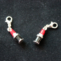 Charms Traditional Charm Animals 16X5.5mm Metal Zinc Alloy Enamel Red Black Lipstick Charm Pendants With Lobster Clasp Jewelry Accessories