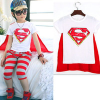 Unisex Summer Yes Boys and girls T-shirt with a Superman cape boy t-shirt+cape Girls baby boys cotton short-sleeved summer 2013 children clothing