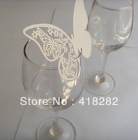 Wholesale For cakeFast Shipping Butterfly Laser Cutting Escort Card Place Card wedding party decoration cup card goblet decorations