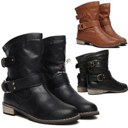 2014 New Spring & Winter Fashion Women Boots Artificial Martin Ankle Boots Flat Vintage Style Buckle Motorcycle Boots 19325