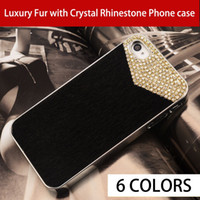 For  iPhone 4 4s Plastic Black New Luxury Fur with Crystal Rhinestone Phone case for iPhone 4 4sbest Leopard print fur cover Free shipping for 1 piece