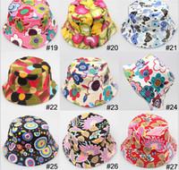 Boy Summer Visor Wholesale - Hot Sale Baby Cartoon printed flower hat girls cap infant sun hat Colorful Baby Bucket hats canvas children beanie 24 design ava