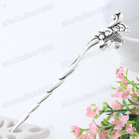 Other Fashion Hairwear Free Shipping 3 Pc Ancient Silver Plated Fashion Pretty Carp Diving Alloy Hair Stick