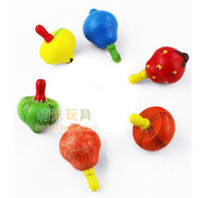 Wholesale 6 Baby Children s Early Learning creative gifts educational toys Fruit Gyro wooden toy spinning top