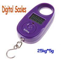 Pocket Scale <50g 25kg 25kg*5g 25kg 5g Mini Purple Display Hanging Luggage Fishing Weighing Digital Scale KG LB , freeshipping dropshipping