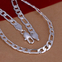 Wholesale Men s Silver inch Necklace Figaro Chain mm mm mm mm gift bag