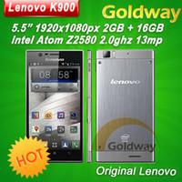 Precio de Lenovo k900-Original de <b>Lenovo K900</b> 5.5 '' 1920x1080p Gorilla Glass 2 GB RAM 13mp Intel Atom Duel Core Android Phone 4.2 ruso Multilingüe