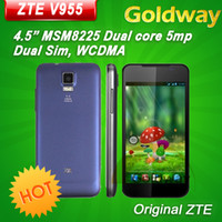 4.7 Android 512M Original ZTE V955 4.5'' MSM8225 Dual Core Mobile Phone Android 4.0 Dual SIM WCDMA GPS Russian Multi Language Free Shipping