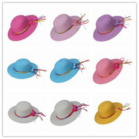 Wholesale 7 Items Child Straw Beach Hat Caps Summer Girl Sun Protection Colorful Ribbon Decorated Sun Cap Hats DVJ