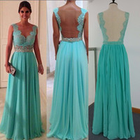 Wholesale 2014 Cheap Prom Dresses Sexy Green Chiffon and Sheer Back With Crew Neckline Sheath Beaded Floor Length Occasion Dresses Dhyz