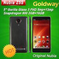 5.0 Android 2G Original ZTE Nubia Z5s NX503A Snapdragon 800 Quad Core phone 5.0'' Gorilla Glass 1920x1080p 2GB RAM 16GB ROM 5MP + 13.0MP OTG