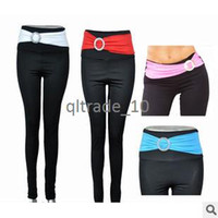Leggings Skinny,Slim Washed 4 color 2014 Yoga Sport Gym San Paolo Elastic Women's Long Leggings Full Length W Buckle Patchwork Fabric Belt wrap the waist LEG15 50pcs